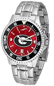 Georgia Bulldogs Competitor AnoChrome Mens Watch with Steel Band and Colored Bezel by SunTime