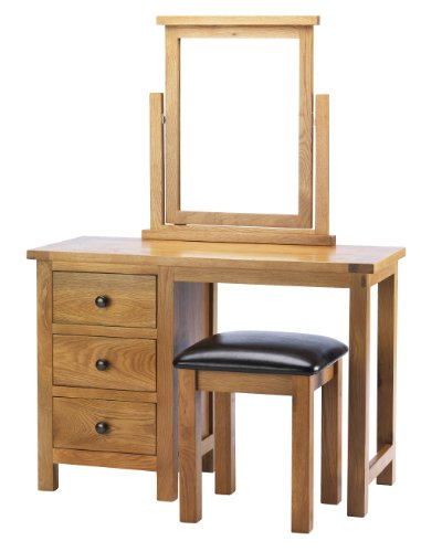 Kettle Interiors Wood Caterham Oak Dressing Table and Stool with Lacquer Finish, Brown