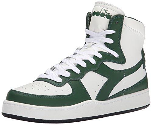 Diadora Men's MI Basketball Shoe, White/Foliage Green, 10.5 M US
