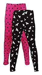 Little Stars Girls' Cotton Regular Fit Leggings- Pack of 2 (Po2Gpl_3217_30, Multi-Colour, 9-10 Years)