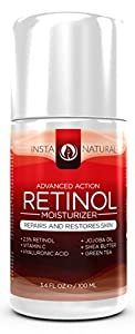 InstaNatural Retinol Moisturizer Cream - With 2.5% Retinol, 10% Vitamin C, Hyaluronic Acid & Jojoba Oil - Anti-Aging Formula - 3.4 OZ