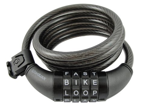 Wordlock Cl-411-Bk 4-Letter Combination Bike Lock Cable, Black, 5-Feet