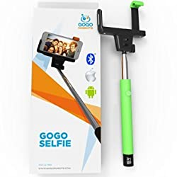 [Voted #1 Selfie Stick] (Green) Most Popular Universal Bluetooth Monopod for iPhone 6, 6 Plus, 6s, Galaxy, Android & All Smartphones. GoGo Selfie - Best, Longest & Coolest Selfie Tool on the Market