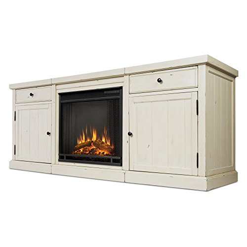 Real Flame 2720E-DSW 2720E Cassidy Entertainment Unit with Electric Fireplace, Distressed White, Large (Distressed Fireplace compare prices)