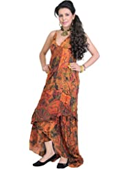 Exotic India Patchwork Summer Dress With Random Prints
