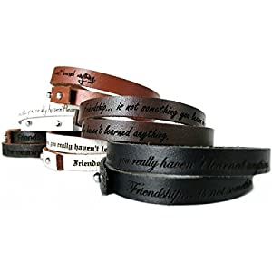 AREA17® Gravur Lederarmband 50 cm Wickelarmband, WUNSCHTEXT INKLUSIVE
