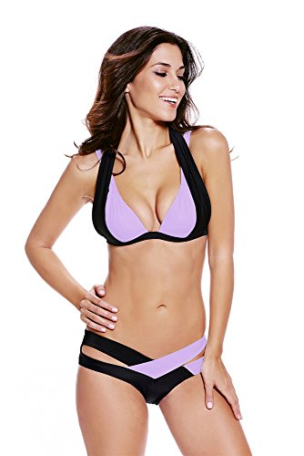 Cfanny Da Donna Color Block sexy Criss Cross fascia Push Up Bikini Swimsuit Light Purple Black XXX-Large
