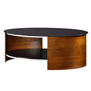 Oval coffee table black glass top walnut finish frame for Coffee tables amazon