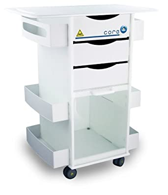 "TrippNT 51817 Polyethylene MRI Core DX Storage Lab Cart with 29"" Extended Top, 29"" Width x 34"" Height x 19"" Depth, 6 Shelves"