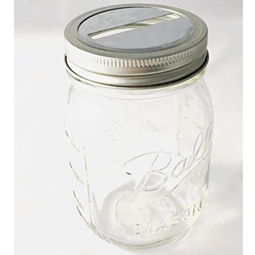 1 Mason Jar with Slotted Lid Insert Regular Mouth Pint 16 Oz (Clear)