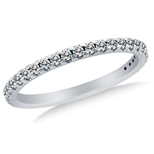 Size 11 - 1.5mm Solid 14K White Gold Round Cut Pave Set Highest Quality CZ Cubic Zirconia Womens Ladies Wedding Band Ring (1/4 cttw.) - Available in all ring sizes 4 - 13