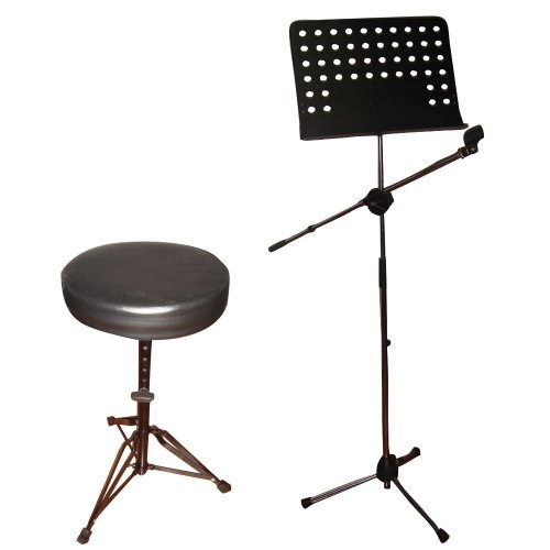 Pyle Mic, Music Sheet Stand And Stool Package - Pmsm9 Heavy Duty Tripod Microphone And Music Note Stand - Pkst50 Double Braced Folding Padded Drum Throne - Keyboard Bench - Guitar Stool