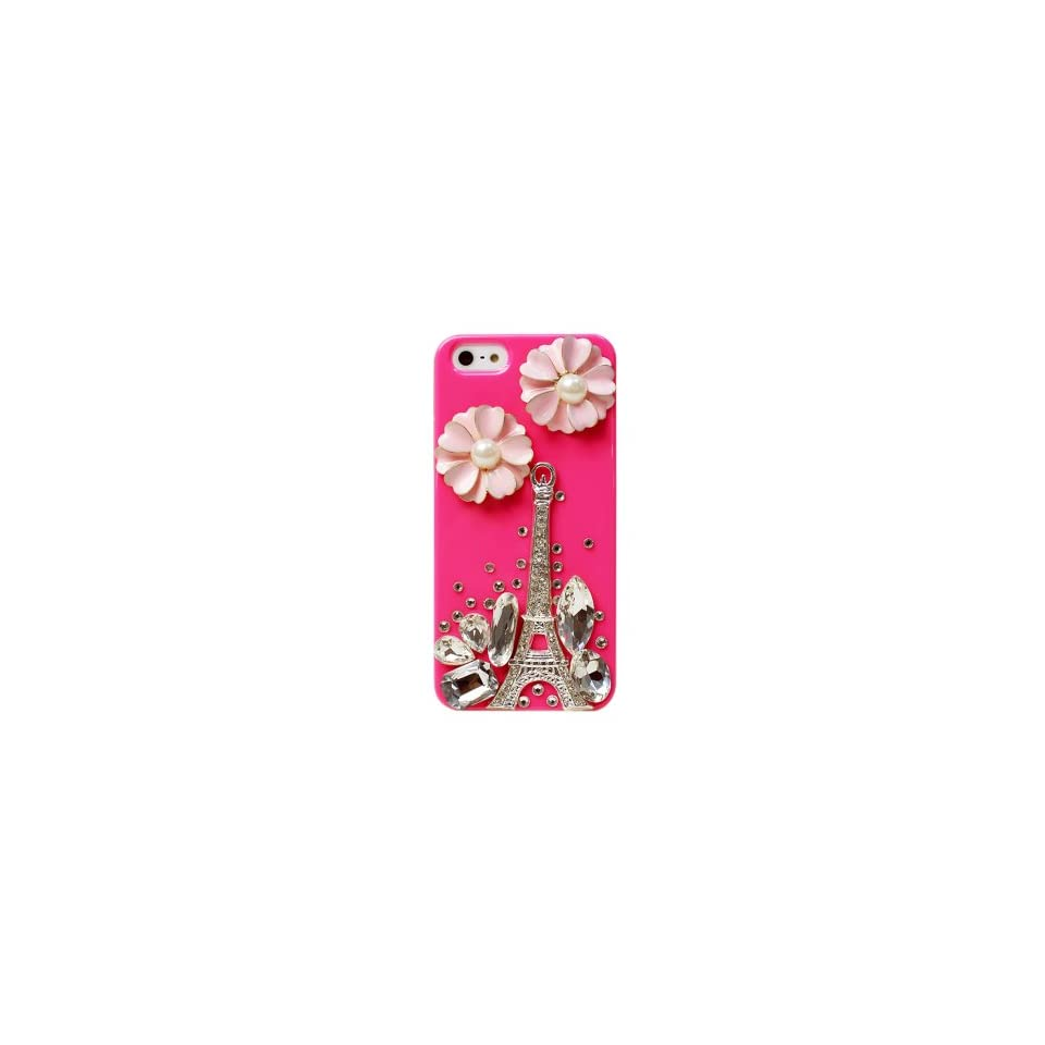 BONAMART ®Bling Rhinestone Eiffel Tower Flower Pearl Hard Back Case Cover iPhone 5 5G 5S Peach