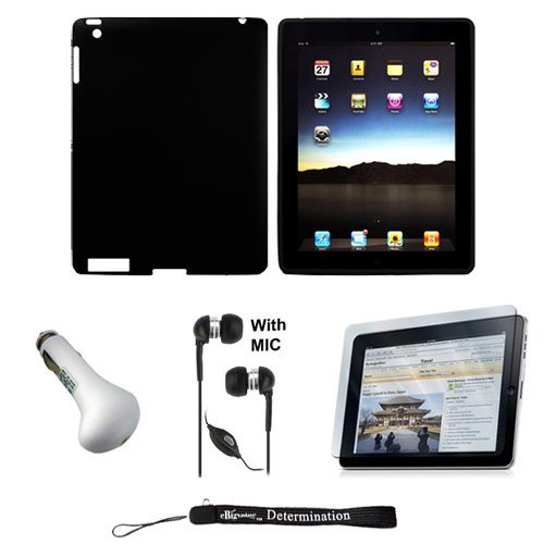 Black Silk Premium Durable Protective Skin for Apple iPad 2 Tab Tablet 2nd Generation + Includes a High Quality and Durable Anti Glare Screen Protector, will prevent from any scratches and dirt going to your iPad Touch Screen + Includes a Car Charger and High Quality Earphones Headphones