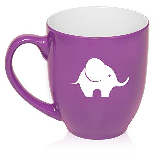 16 Oz Purple Large Bistro Mug Ceramic Coffee Tea Glass Cup Baby Elephant