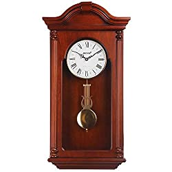 HENSE Chiming Wall Clock with Swinging Pendulum and Catalpa Finish - 28 Inches Tall HP732