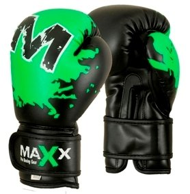 Maxx Kids junior boxing gloves Rex leather 4oz - 8oz blk/green (8oz)