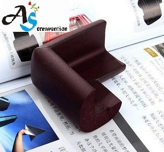 A&S Creavention® BabyCorner Child Edge Corner Protection Sponge Anti-Collision Angle x 4PCS (Coffee Brown)