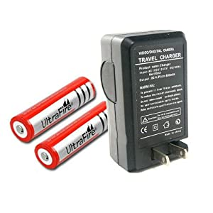 Etekcity® UltraFire 18650 3000mAh 3.7V Rechargeable Li-Ion Battery (Pair) + Charger Combo