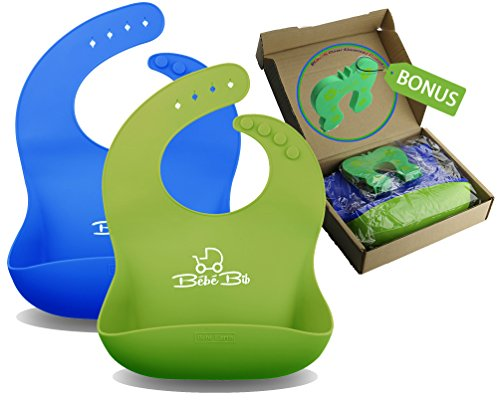 buy Premium Silicone Baby Bibs - Soft, Waterproof, Always Keeps Its Shape - GREEN & BLUE | Stain Resistant - Wipe Clean, Fast Drying | FREE Door Slam Guard for sale