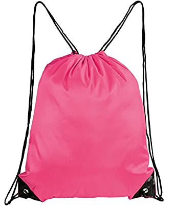 Mato & Hash Basic Drawstring Tote Cinch Sack Promotional Backpack Bag Hot Pink