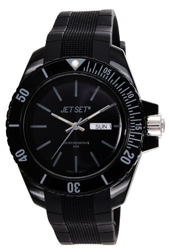 Jet Set J83491-10 - Reloj analógico de cuarzo unisex, correa de caucho color negro