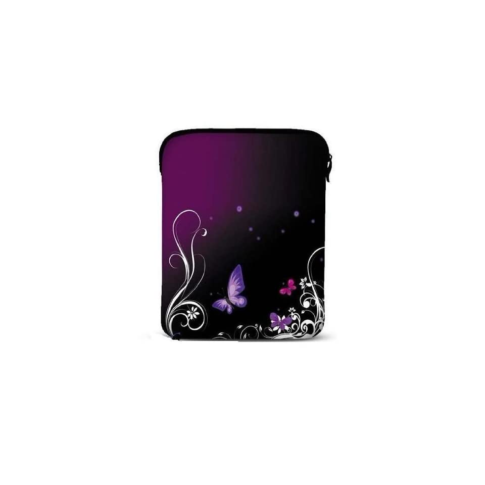 "NEW Purple Butterfly & flower Soft Neoprene 8"" 9.7"" 10 inch Netbook Laptop Sleeve Slip Case Pouch Bag with strap fit for Apple iPad 2/ iPad 3 / the New ipad 4 / Kindle DX/HP TouchPad/Sony Tablet S S1/10.1"" Samsung Galaxy Tab/Le Pan TC 97"
