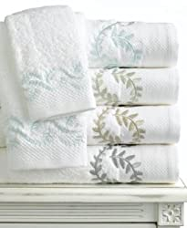 Martha Stewart Collection Bath Hand Towel 16in X 30 in, Trousseau Leaf Collection , WHT/NAT