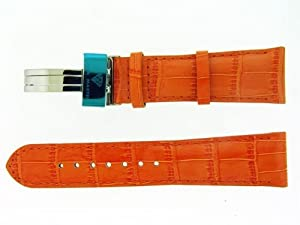 Aqua Master Leather Watch Strap 24mm Wide Orange