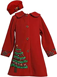 Bonnie Jean Girls Christmas Tree Fleece Coat & Hat Set, Red, 12