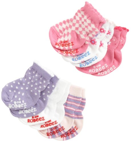 Robeez Baby-Girls Newborn 6 Pack Floral Socks, Pink/Purple Multi, 6-12 Months