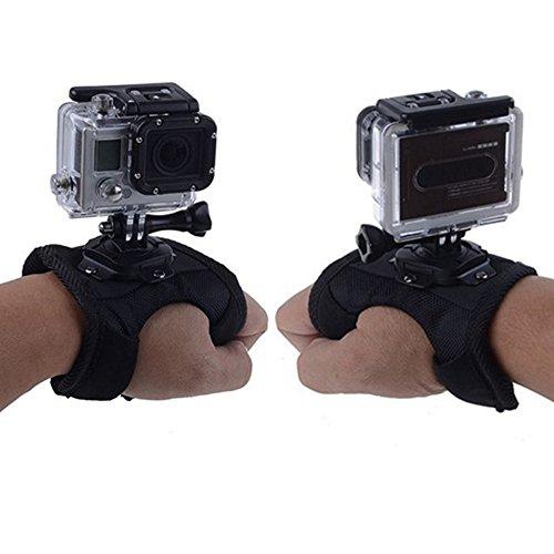 Mudder 360 Degree Swivel/ Rotation Glove-style Digital Camera Wrist Strap Band Mount Accessories [Swivel Mounts Family] with Thumb Screw for GoPro, GoPro HD, GoPro Hero 4/ 3+/ 3/ 2, Sj4000, Black