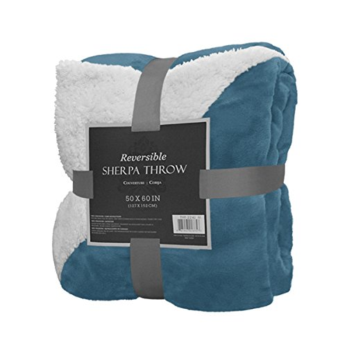 "Best Prices! Reversible Sherpa Throw Blanket 50"" x 60"" Color Warm Soft Plush Fleece Bed Co..."
