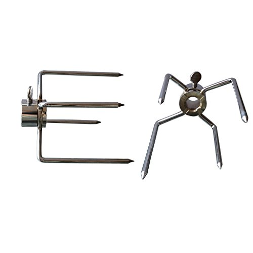 """Onlyfire 6003 Grill Rotisserie Spit Meat Forks Replacement--Fits 1/2"""" hexagon & 3/8"""" and 5/16"""" square Spit Rods"""