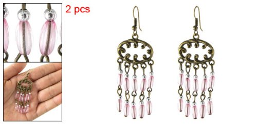 Rosallini Bronze Tone Metal Dangling Plastic Beads Decor Earrings
