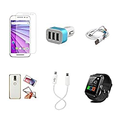 High Quality Combo of Moto G3 Temper Glass + Car Charger 3 USB + USB Data Cable + Attractive Back Cover (Transparent Back with Golden Border) + Android to Android Charging Cable
