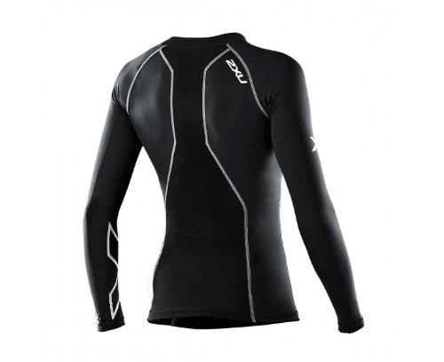 2XU Women's Swimmers Compression Long Sleeve Top (Black/Black, Small)