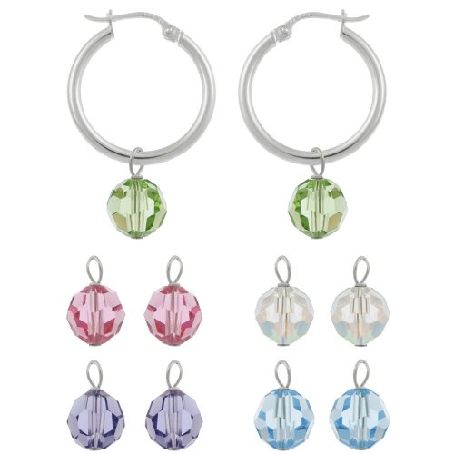 Sterling Silver Hoop Earrings with Interchangeable Aurora Boreale, Light Green, Rose, Purple and Light Blue Swarovski Element Drops