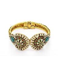 Pearls Cart Antique Golden Stone Studded Elegant Bracelet/Bangle/Kada (Red Green) - Pck6004