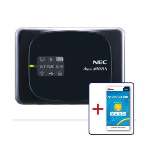 NTTコミュニケーションズ SIMフリーモバイルルーター(LTE対応)Aterm MR02LN ブラックOCN モバイル ONE マイクロSIM付き T0003828