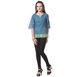 Oghaindia Womens Ikat Banarasi Silk Jaquard Combo Dark Turquoise
