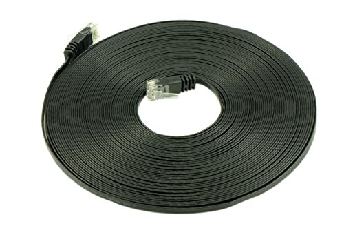 Optimus Electric 50 Feet Cat6 Ultra Flat Cable With Smooth Jacket - Black