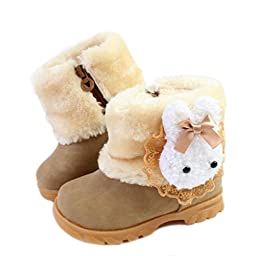 Femizee Baby Girls Infant Toddler Winter Fur Shoes Rabbit Snow Boots Booties,Brown,6.5 M US Toddler