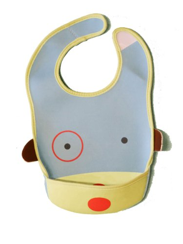 BabyB.ee soft waterproof adjustable pocket feeding bib/food catcher for infants and toddlers (Bart the Blue Puppy)