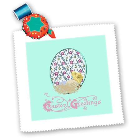 Qs_174114_3 Beverly Turner Easter Design And Photography - Little Yellow Chick, Nest Of Eggs, Flowered Background, Yellow, Pink, Green - Quilt Squares - 8X8 Inch Quilt Square front-280973