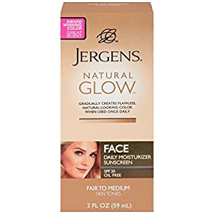 Jergens Glow Face Daily Moisturizer Sunscreen SPF 20, Fair to Med