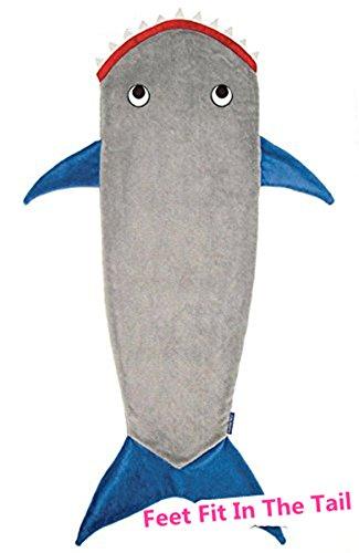 Wootly Haifisch Schwanzes Kuscheldecke,Super Weich Shark Decken,Sie können sich Ihre Füße in die Flossen,Fleecedecke für Teen/Erwachsene 70 x 27 inch,Blau thumbnail