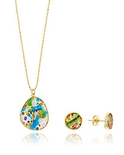 Cordoba Jewels Conjunto de cadena, colgante y pendientes  plata de ley 925 milésimas bañada en oro