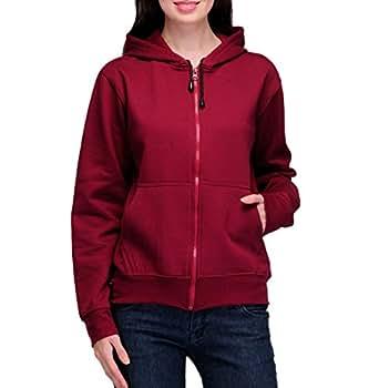 Scott Women's Premium Cotton Pullover Hoodie Sweatshirt with Zip - Maroon - 1.1_lsshz12_S