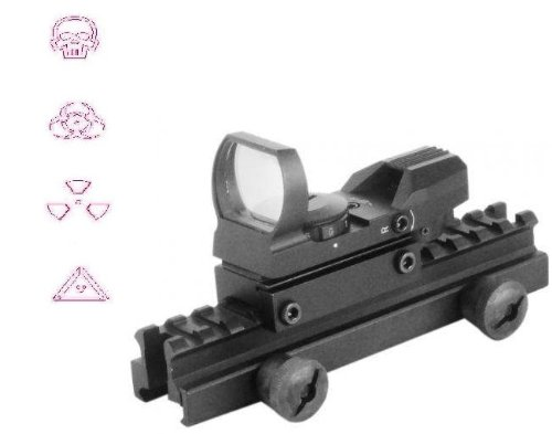 "Global Sportsman Qd Tactical 1"" Weaver-Picatinny High See Thru Stanag Riser Mount For Ar15 M4 Flattop Rifle Scope + Cqb 4 Multi Reticle Red Warfare Edition Open Reflex Sight With Weaver-Picatinny Rail Mount - Combo Combination Package Kit Set Fits Ar15 M4"